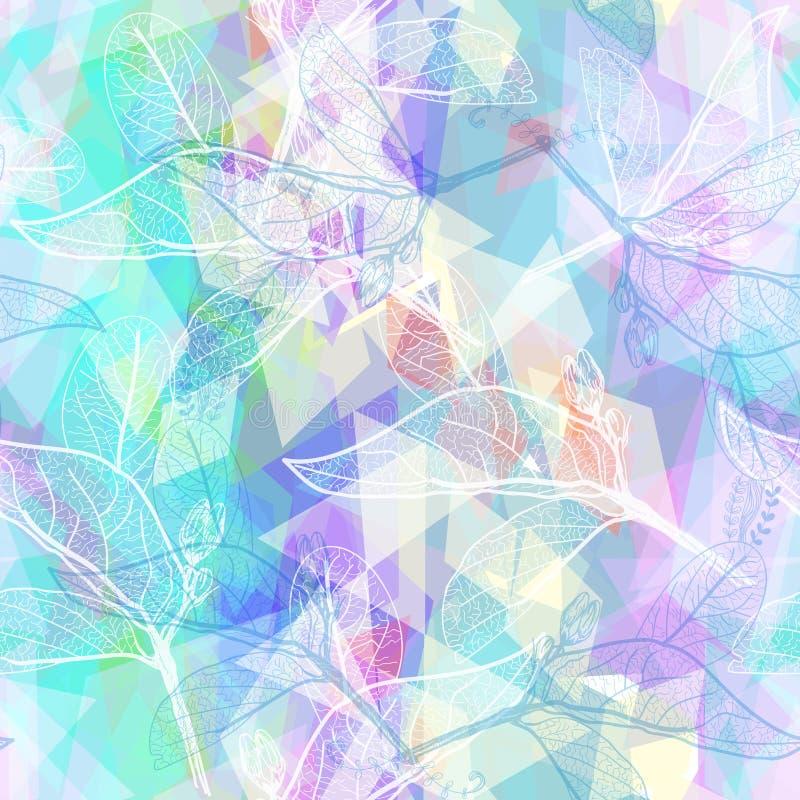 Verlaat contouren, het roze turkooise lilac purpere moderne in bloemen naadloze hand-drawn patroon van pastelkleurkleuren, Geomet royalty-vrije illustratie