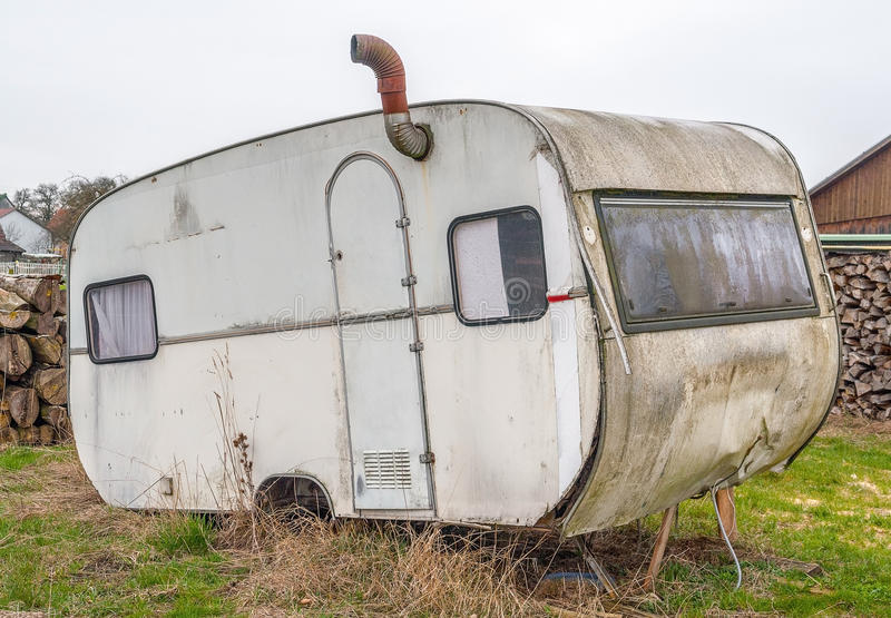 Verlagings oude caravan royalty-vrije stock afbeelding