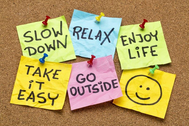 Verlangsamung, entspannen sich, nehmen es leicht stockbilder