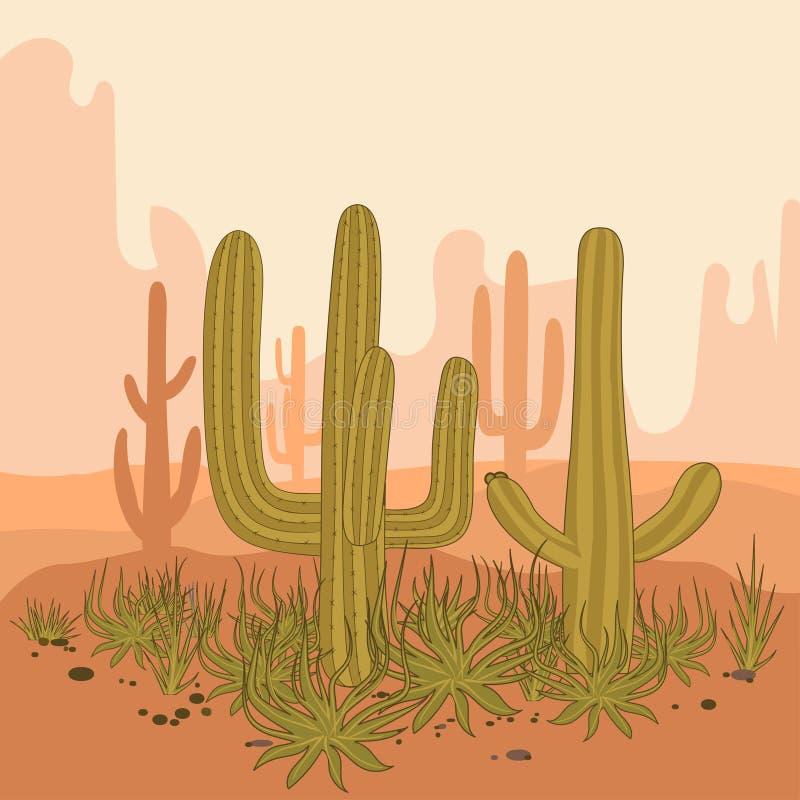 Verlassen Sie Landschaftskaktus und -berge, Sonnenuntergang in der Kanone, Hintergrundszene mit Steinen und Sand Vektor vektor abbildung