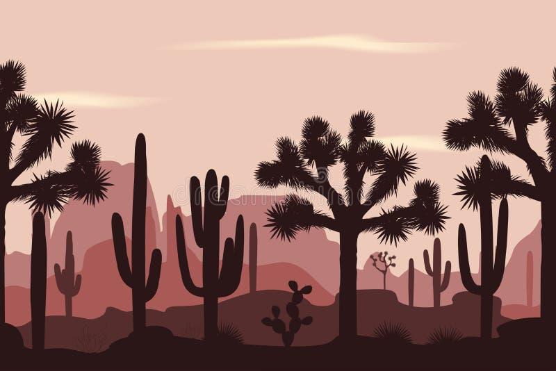 Verlassen Sie nahtloses Muster mit Joshua-Bäumen und Saguarokakteen stock abbildung