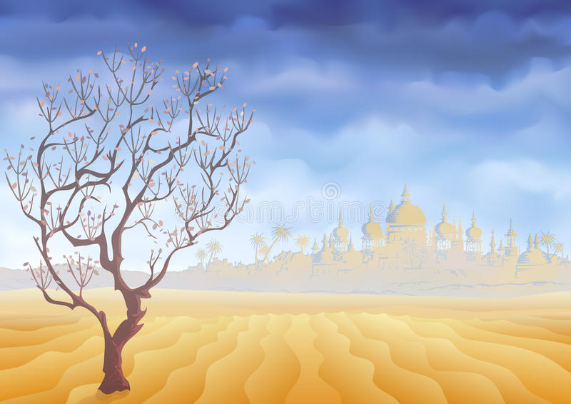 Verlassen Sie verwelkenden Baum und ein altes Schlosstrugbild vektor abbildung