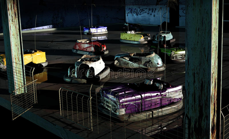Verlassene Autoskooters stock abbildung