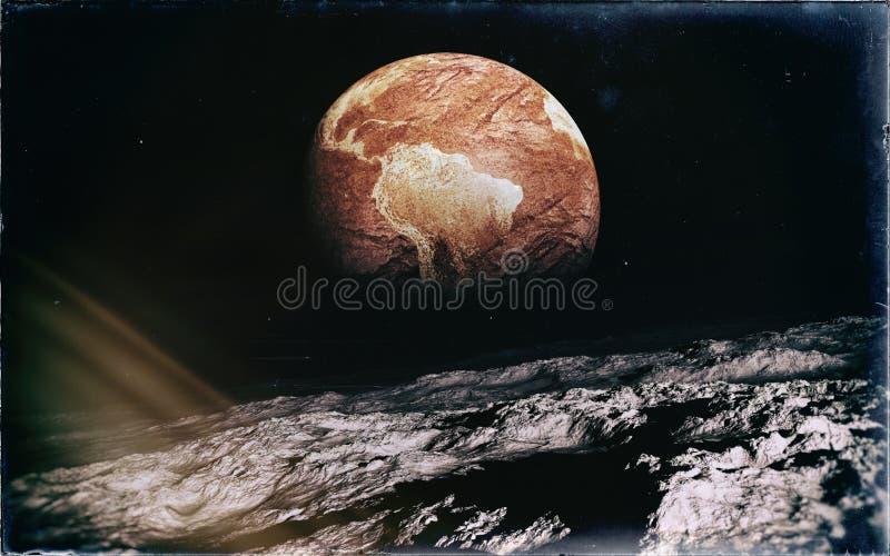 Verlassene Erde vom Mond lizenzfreie abbildung
