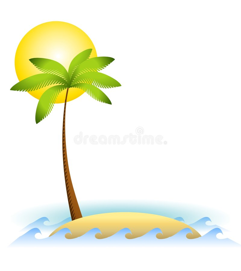 Verlassene Insel-Palme lizenzfreie abbildung