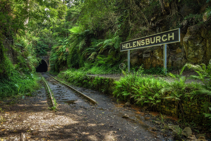 Verlassener Bahnhof und Tunnel Helensburgh nahe Sydney lizenzfreie stockbilder