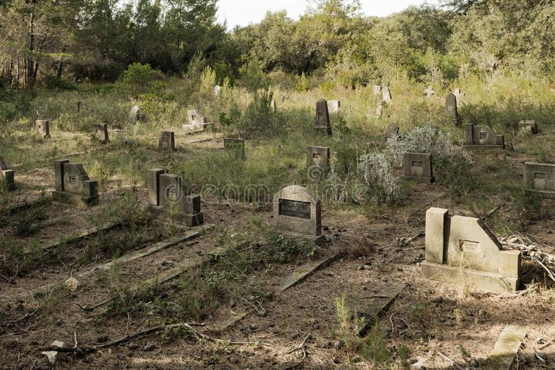 Verlassener Friedhof nahe psychiatrischer Klinik auf der Insel von Ugljan in Kroatien stockbilder