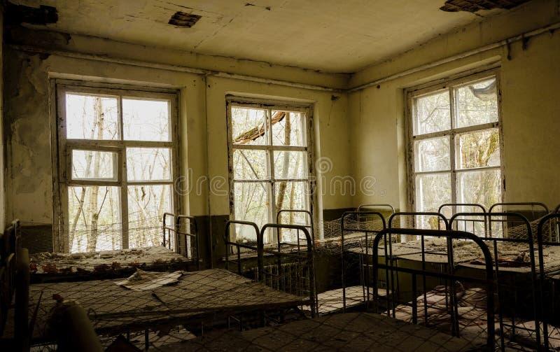 Verlassener Kindergarten in Tschornobyl stockfotografie