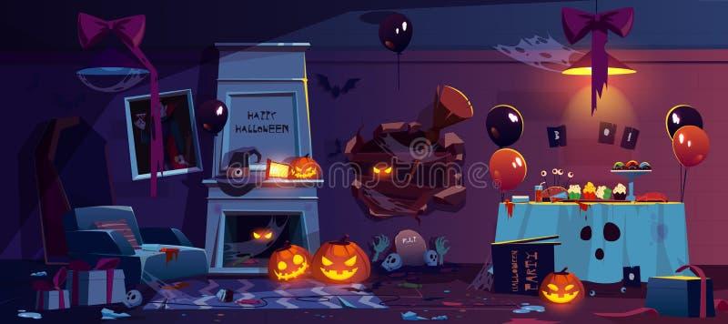 Verlassener Raum mit Halloween-Parteidekoration vektor abbildung