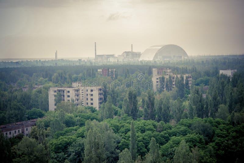 Verlassener Swimmingpool in der Strahlung verseuchte Pripyat, Tschornobyl-Zone lizenzfreies stockbild