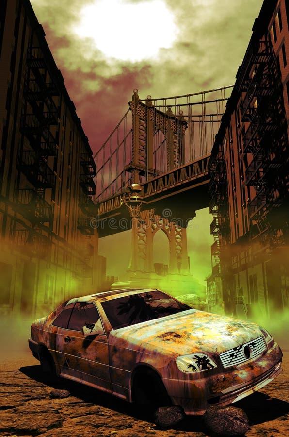 Verlassenes Auto in Manhattan lizenzfreie abbildung