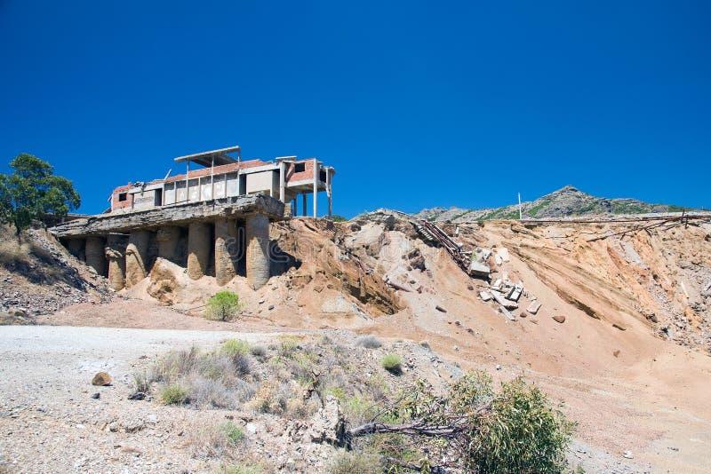 Verlassenes Bergwerk in Sardinien in Sardinien lizenzfreies stockfoto