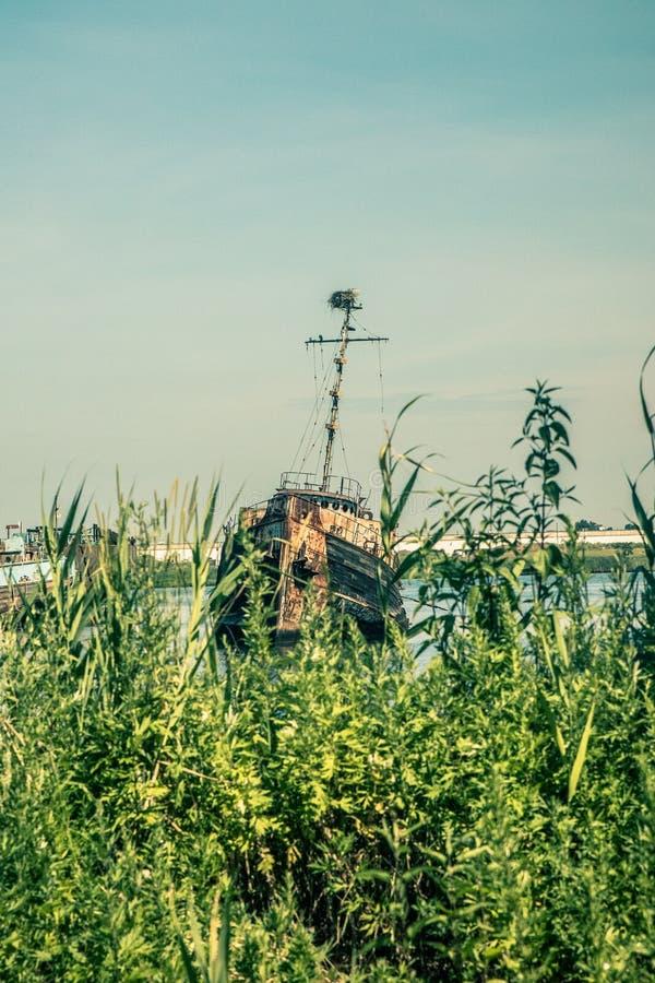 Verlassenes Boot in Staten Island New York City, lizenzfreies stockfoto