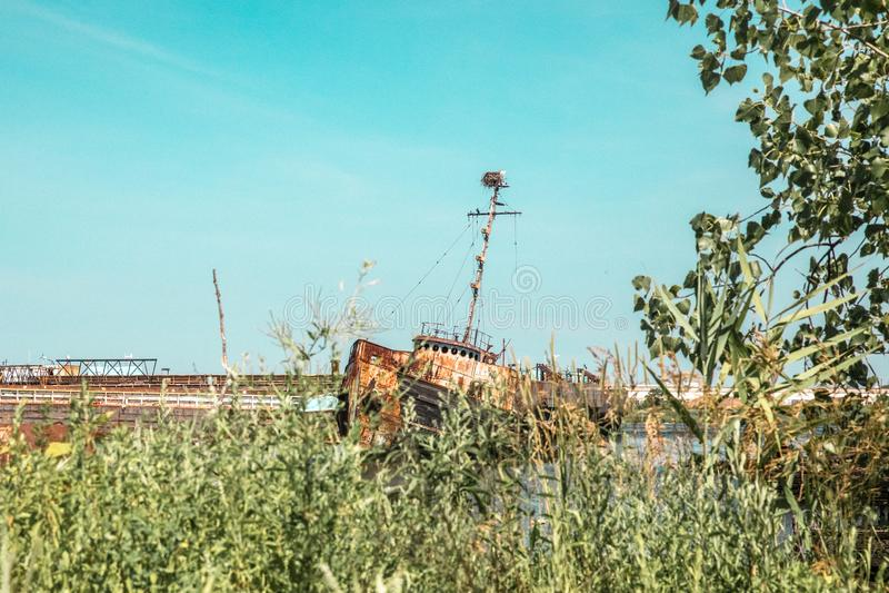 Verlassenes Boot in Staten Island New York City, stockfotos