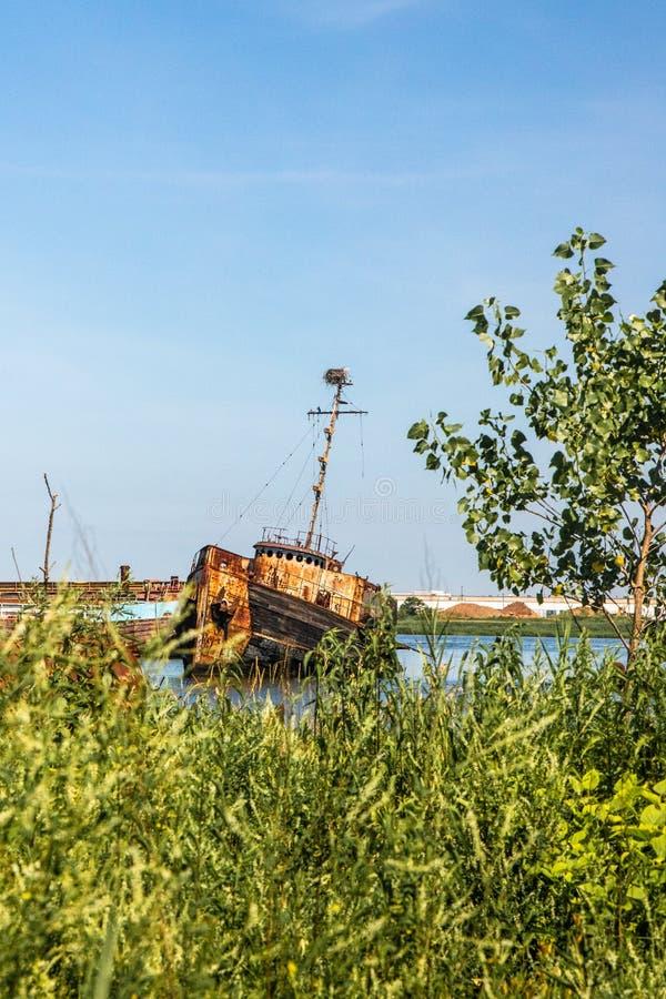 Verlassenes Boot in Staten Island New York City, lizenzfreie stockbilder