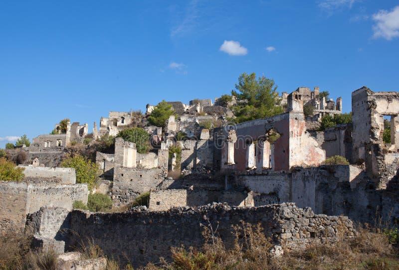 Verlassenes Dorf von Kayakoy in der Türkei lizenzfreie stockfotografie