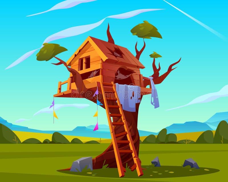 Verlassenes Haus auf Baum, leerer furchtsamer Spielplatz vektor abbildung