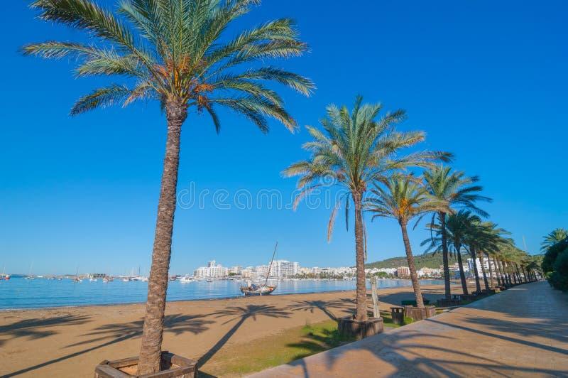 Verlassenes Segelboot auf dem Strand Reihen von Palmen zeichnen Wasser ` s Rand in Ibiza, St. Antoni de Portmany Balearic Islands lizenzfreies stockfoto