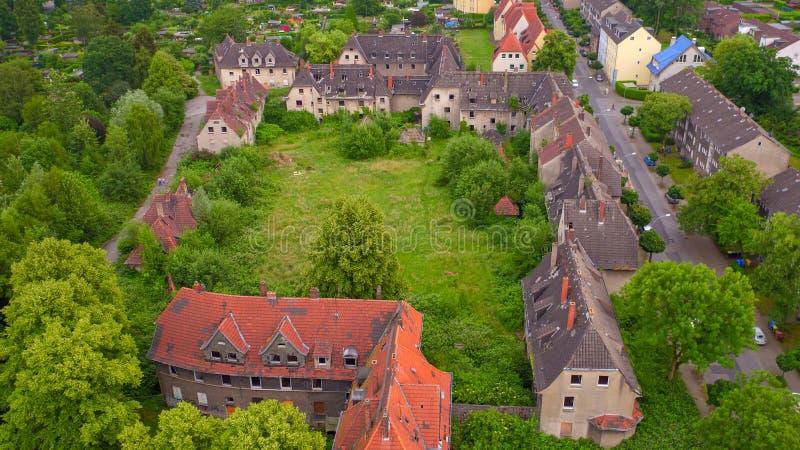 Verlaten arbeidersregeling in Gladbeck, Noordrijn-Westfalen in Duitsland stock afbeeldingen
