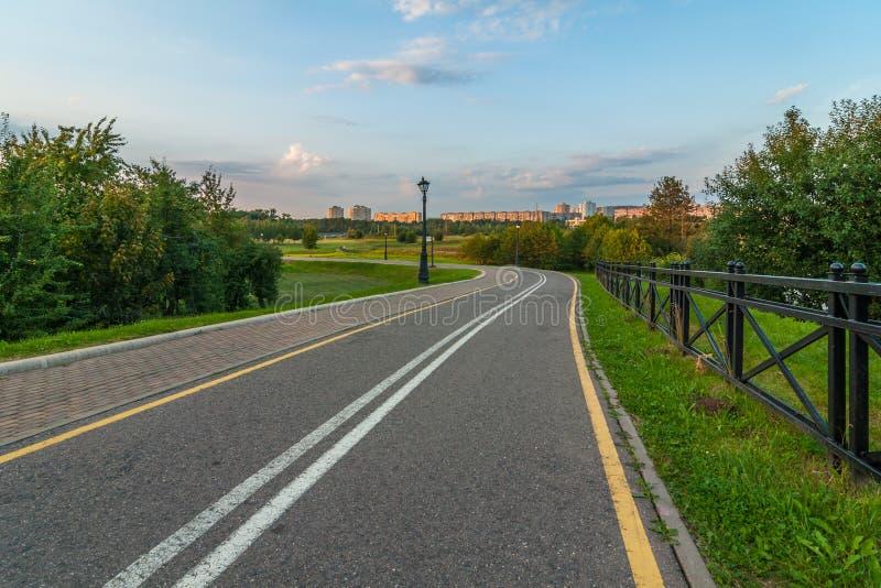 Verlaten asfaltweg in het stadspark in de vroege avond royalty-vrije stock afbeeldingen