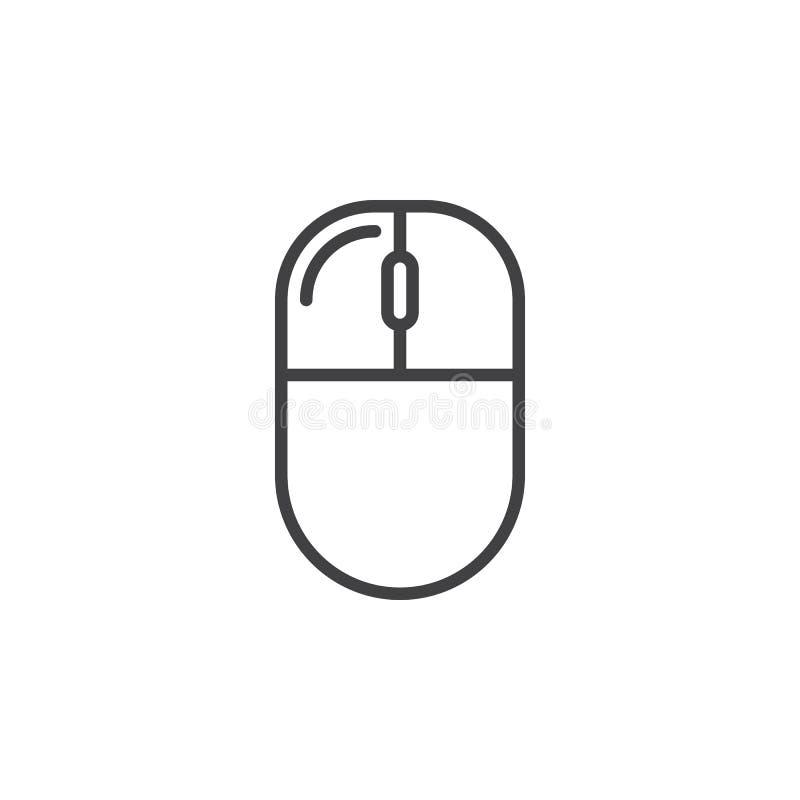 Verlaten computer de muis klikt lijnpictogram, schetst vectorteken vector illustratie