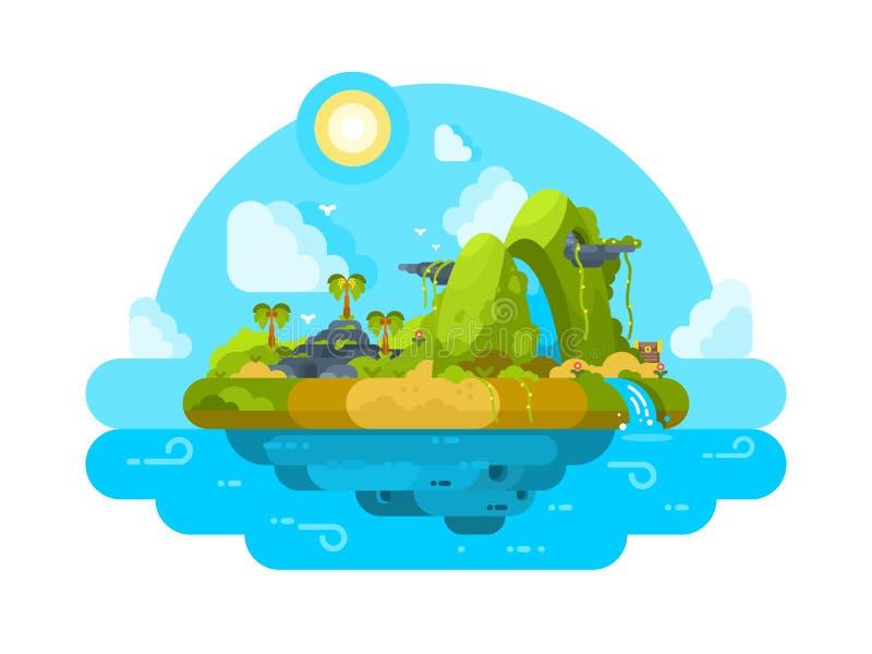 Verlaten eiland in oceaan royalty-vrije illustratie