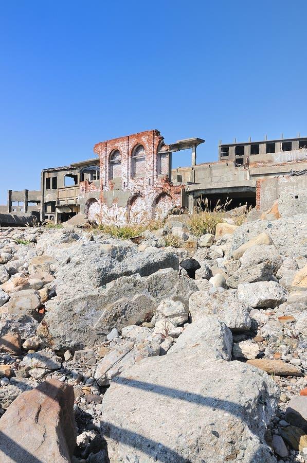 Verlaten gebouwen op Gunkajima in Japan royalty-vrije stock foto