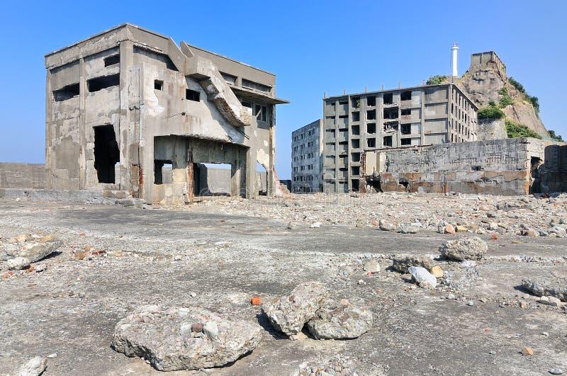 Verlaten gebouwen op Gunkajima in Japan royalty-vrije stock foto's