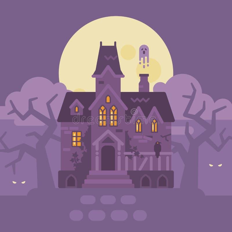Verlaten gotisch herenhuis met spoken Het spookhuis van Halloween royalty-vrije illustratie