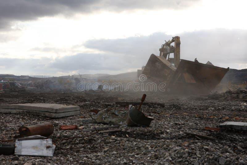 Verlaten het gebied van Moermansk Rusland in het noorden Russische Federatie royalty-vrije stock afbeelding