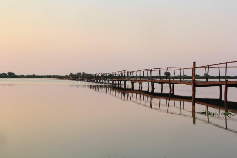 Verlaten houten lange brug en zijn gedachtengang over nog water op zonsopgang stock foto's