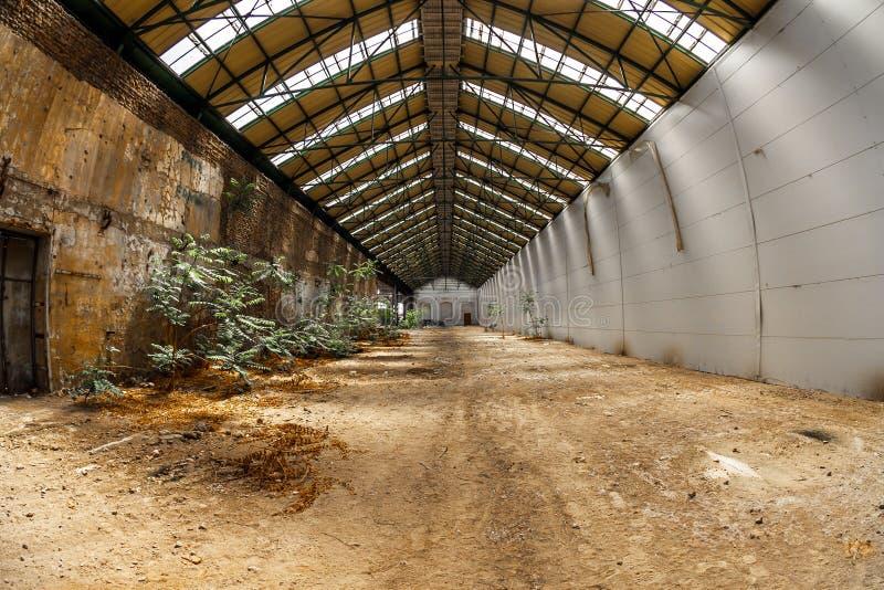 Verlaten industrieel binnenland met helder licht stock fotografie