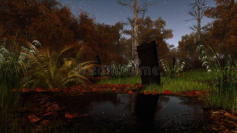 Verlaten kerkhof in eng nachtbos royalty-vrije illustratie