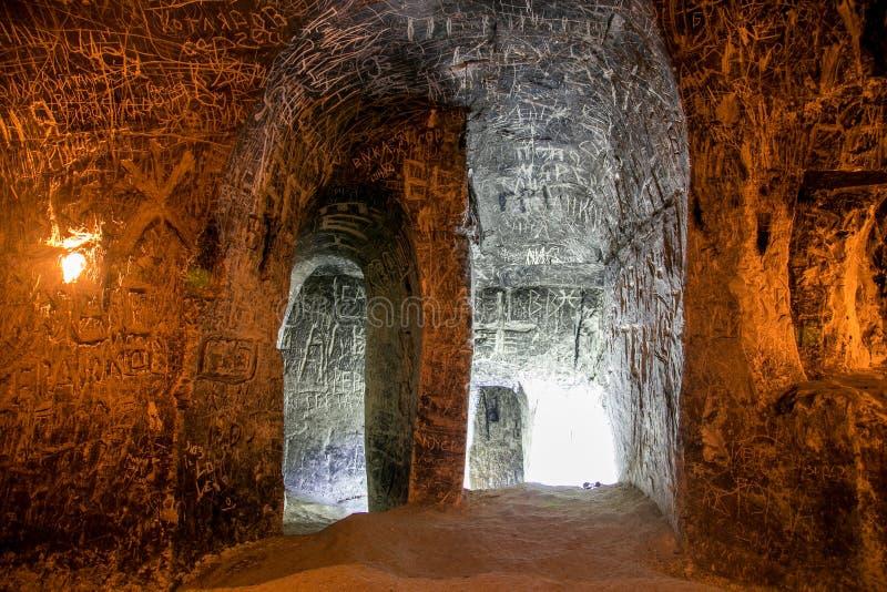 Verlaten krijtachtig ondergronds holklooster, ondergrondse kerk in Kalach stock foto's