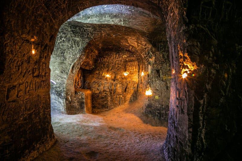 Verlaten krijtachtig ondergronds holklooster, ondergrondse kerk in Kalach stock afbeelding