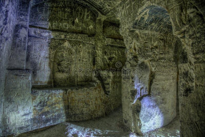 Verlaten krijtachtig ondergronds holklooster, ondergrondse kerk in Kalach stock foto