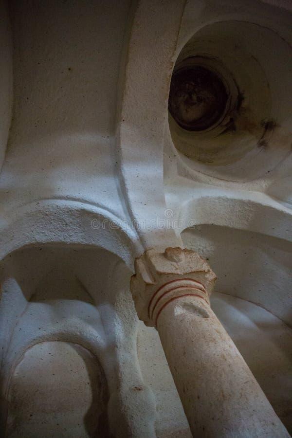 Verlaten krijtachtig ondergronds holklooster, ondergrondse kerk in Kalach, Voronezh-gebied stock fotografie
