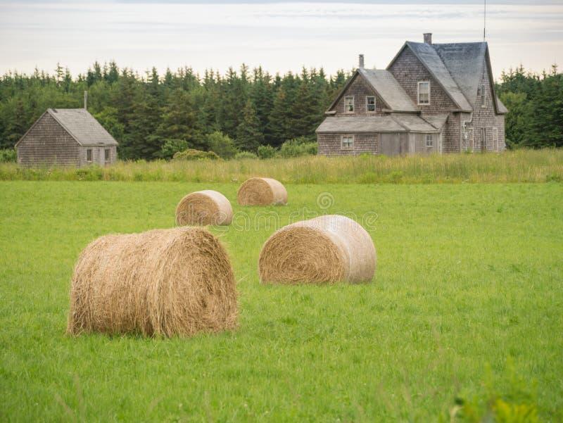 Verlaten landbouwbedrijfhuis en balen van hooi stock afbeelding