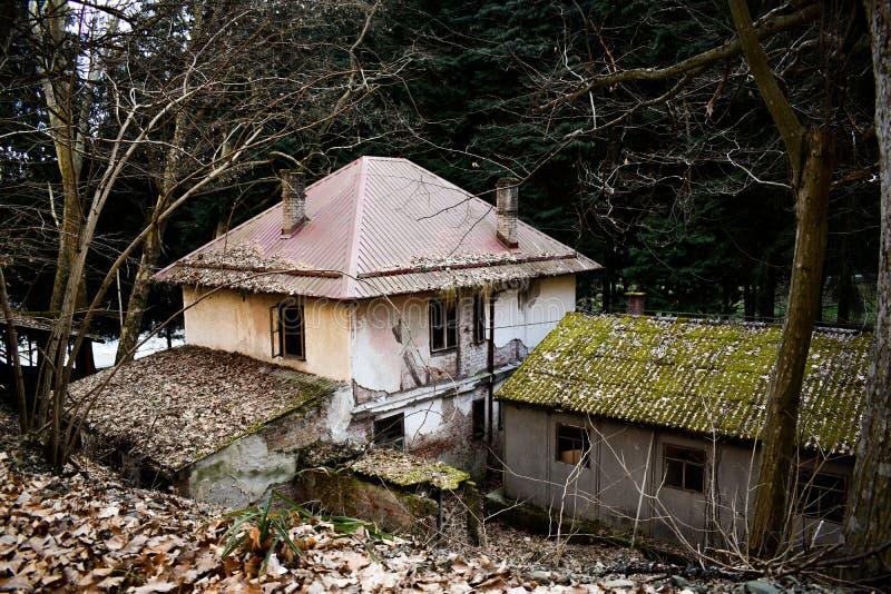 Verlaten oude gebouwen in ruïnes in het hout royalty-vrije stock afbeeldingen