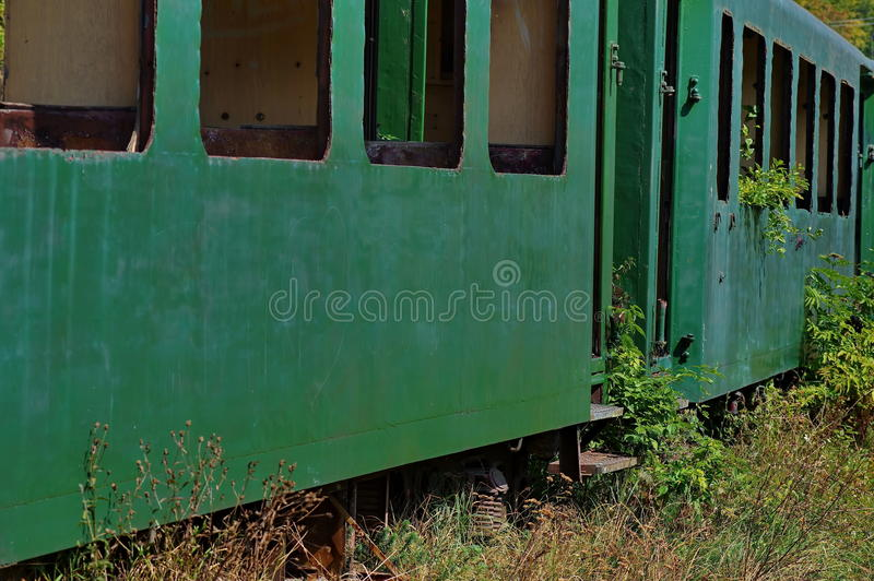 Verlaten oude trein stock afbeelding