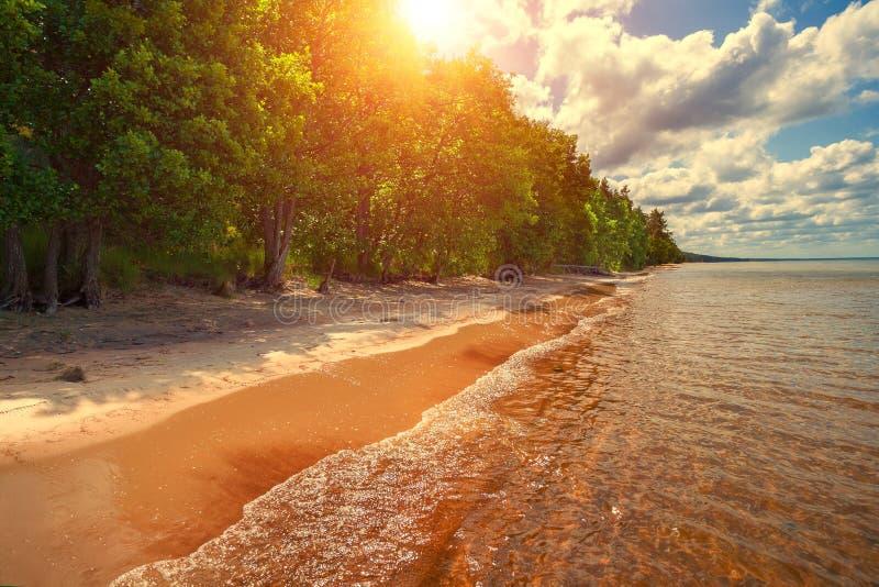Verlaten overzeese kust stock foto's