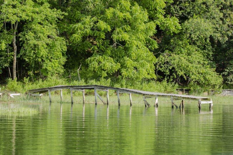 Verlaten Pijler op Groen Meer stock foto