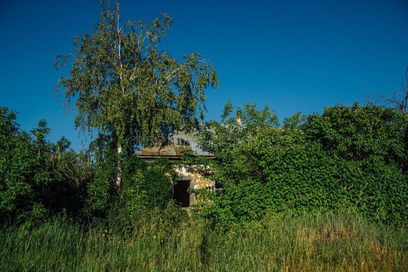 Verlaten Russisch dorp Ruïnes van overwoekerd landelijk huis Verlatenheid en verlatenconcept stock afbeelding