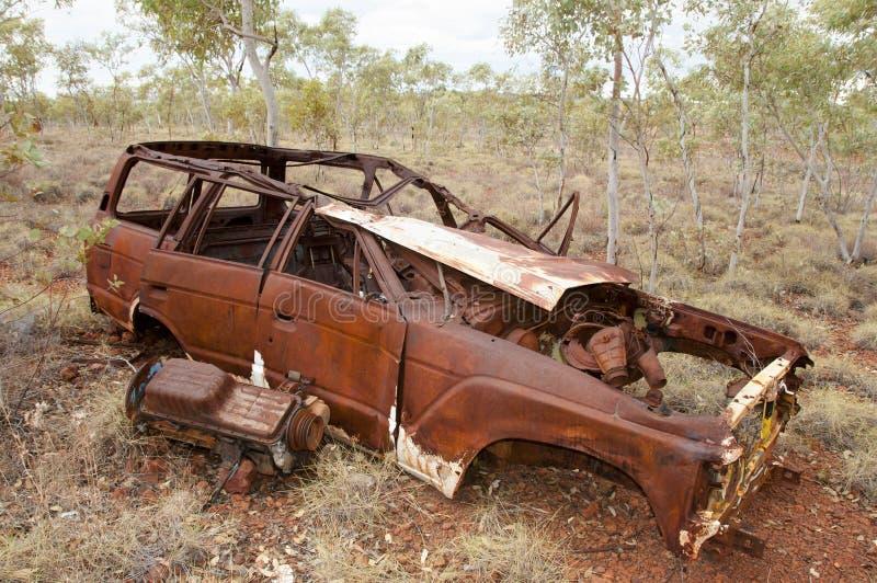 Verlaten Rusty Car - Binnenland Australië royalty-vrije stock afbeeldingen