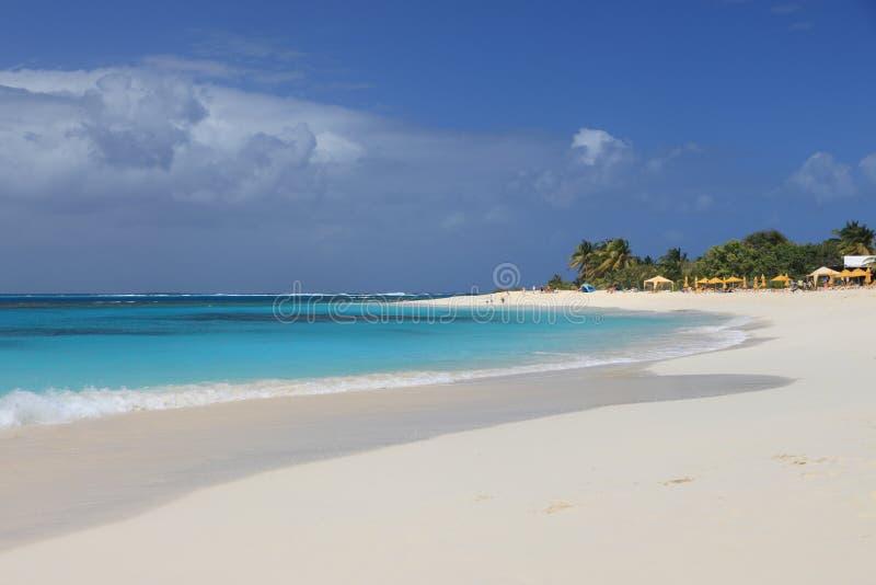 Verlaten schoon zandig strand stock afbeelding