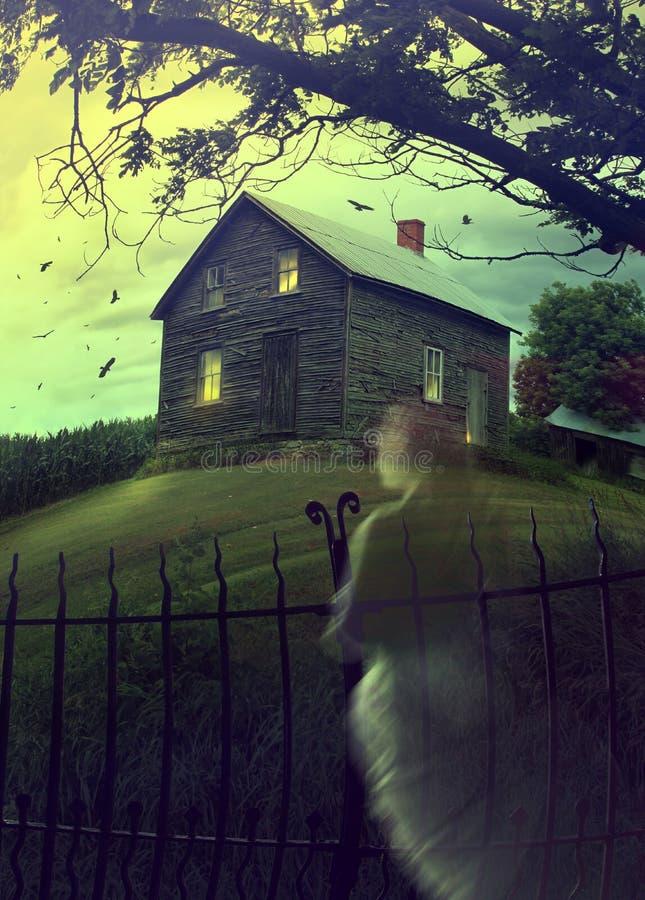 Verlaten spookhuis op de heuvel met spook royalty-vrije stock foto