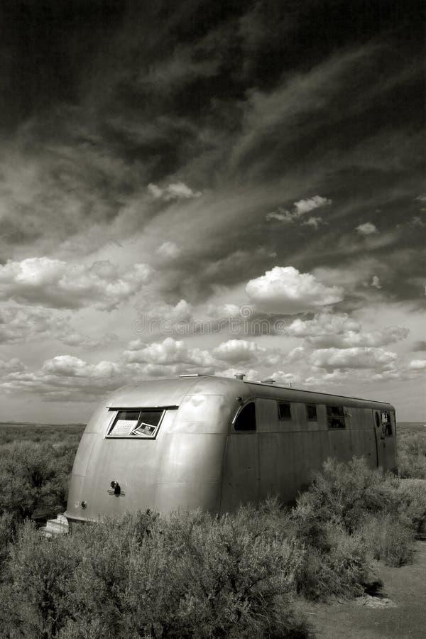 Verlaten Sta-caravan, de Vallei Oregon van Kerstmis stock foto's