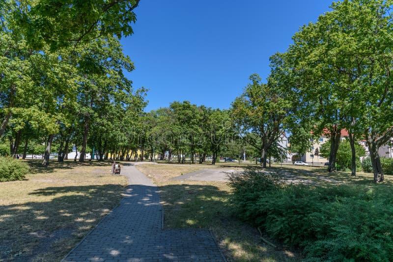 Verlaten stadspark in Slechte Dürrenberg, Duitsland stock fotografie