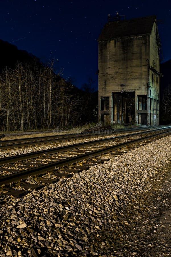 Verlaten Steenkooltoren bij Nacht - Chesapeake en de Spoorweg van Ohio - Thurmond, West-Virginia stock afbeeldingen