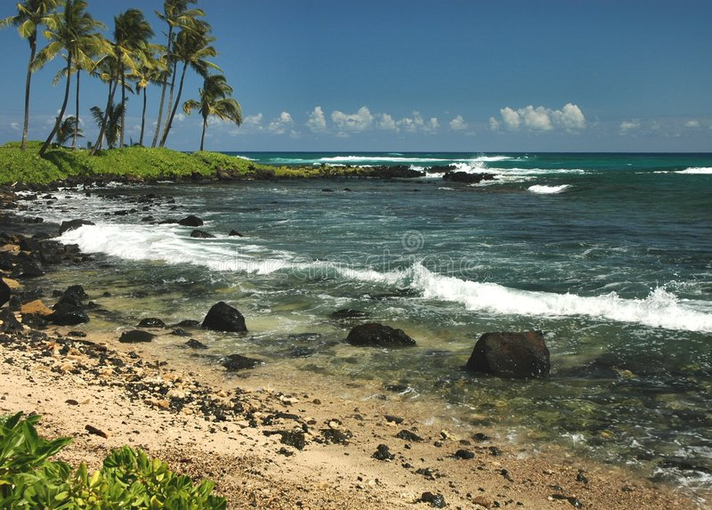 Verlaten Strand, Kauai stock afbeeldingen
